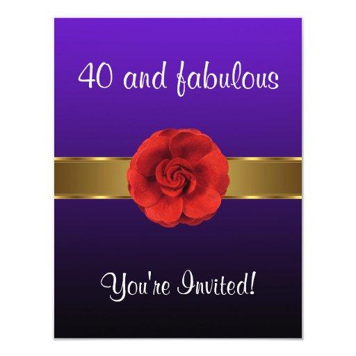 """40.o fabuloso del oro rojo púrpura de la flor invitación 4.25"""" x 5.5"""""""