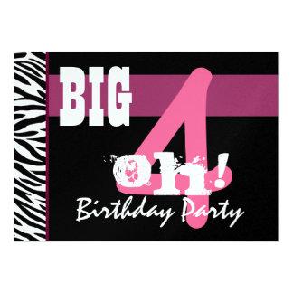 """40.o Fiesta de cumpleaños - oh cebra rosada grande Invitación 5"""" X 7"""""""