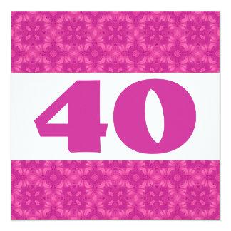 """40.o Fiesta de cumpleaños para sus rosas fuertes Invitación 5.25"""" X 5.25"""""""