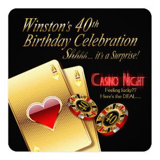 """40.o fiesta de la noche del casino de Vegas del Invitación 5.25"""" X 5.25"""""""