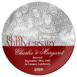 40.o Foto de rubíes del aniversario de boda Platos De Cerámica