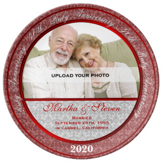 40.o Foto de rubíes del aniversario de boda Plato De Cerámica