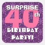 40.o Fuegos artificiales rosa y púrpura del cumple Calcomanías Cuadradas