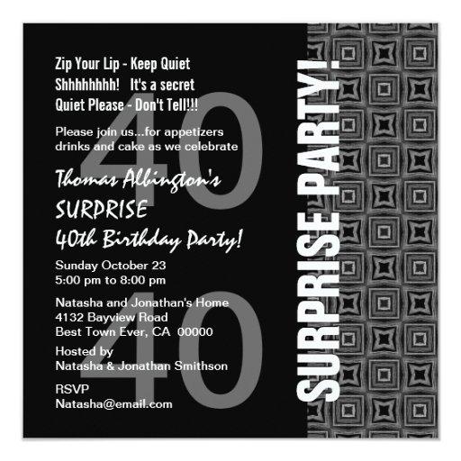40.o Gris blanco negro moderno del cumpleaños de Invitaciones Personales