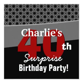 """40.o Gris rojo blanco negro moderno del cumpleaños Invitación 5.25"""" X 5.25"""""""