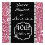 40.o Invitación de la fiesta de cumpleaños de Invitación 13,3 Cm X 13,3cm