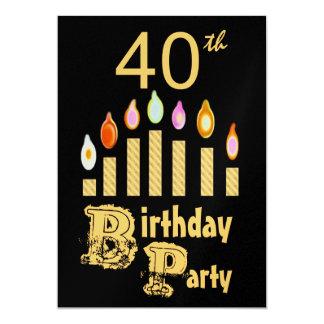 40.o Invitación de la fiesta de cumpleaños - ORO
