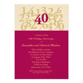 40 o Invitación de rubíes del aniversario de boda