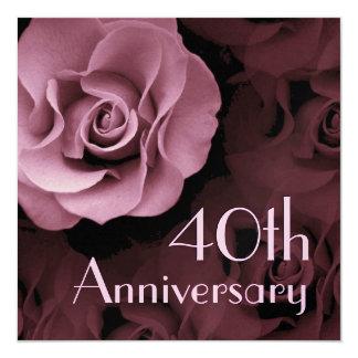 40.o Invitación del aniversario - color de rosa