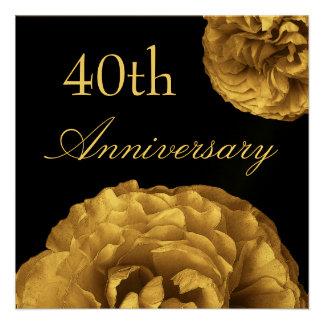 40 o Invitación del aniversario - rosas del ORO