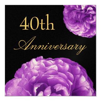 40.o Invitación del aniversario - rosas PÚRPURAS