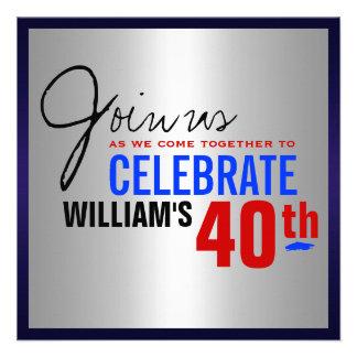 40.o Invitación del cumpleaños - azul de plata roj