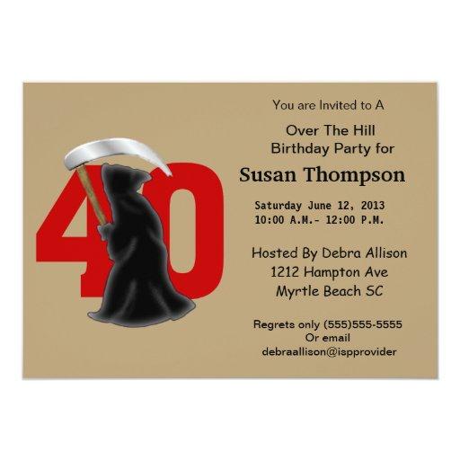 40.o Invitación del cumpleaños del parca