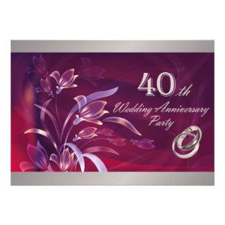 40 o Invitaciones de la fiesta de aniversario del