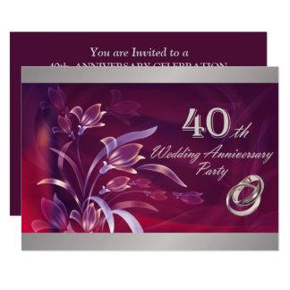 """40.o Invitaciones de la fiesta de aniversario del Invitación 5"""" X 7"""""""