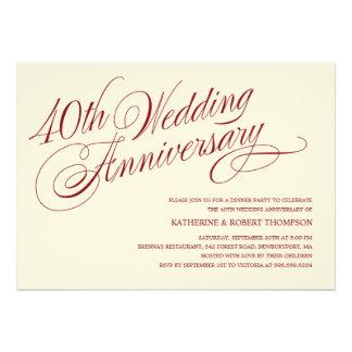 40 o Invitaciones del aniversario de boda Invitacion Personalizada