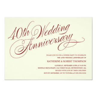 """40.o Invitaciones del aniversario de boda Invitación 5"""" X 7"""""""