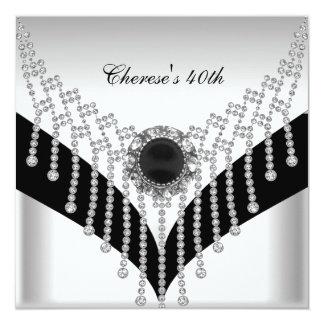 40.o Joya blanca del diamante del negro de la Anuncios