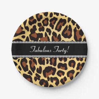 40.o leopardo y cordón fabulosos A07 del Platos De Papel