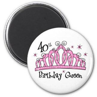 40.o LT de la reina del cumpleaños de la tiara Imán Redondo 5 Cm