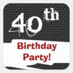 40.o Modelo y rojo blancos del negro de la fiesta Pegatina Cuadradas Personalizada