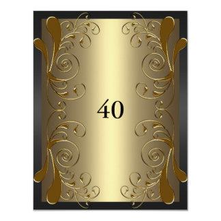 """40.o Negro del cumpleaños y encanto floral del oro Invitación 4.25"""" X 5.5"""""""