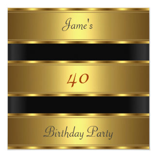 """40.o negro del oro de la fiesta de cumpleaños de invitación 5.25"""" x 5.25"""""""