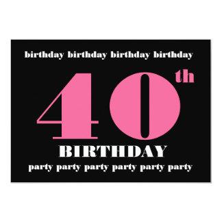 """40.o Negro del rosa de la plantilla de la Invitación 5"""" X 7"""""""