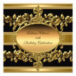 40.o Negro elegante del oro de la fiesta de cumple Invitación