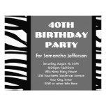 40.o Negro+Invitaciones blancas de la cebra Anuncio Personalizado