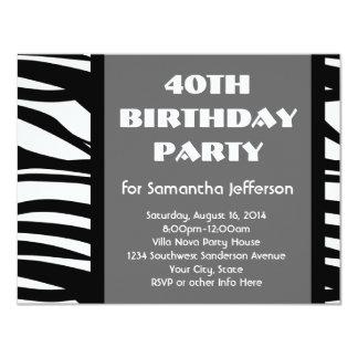 """40.o Negro+Invitaciones blancas de la cebra Invitación 4.25"""" X 5.5"""""""