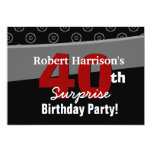 40.o Negro V541 blanco del cumpleaños de la Invitacion Personal