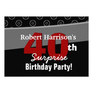 40.o Negro V541 blanco del cumpleaños de la sorpre Invitacion Personal