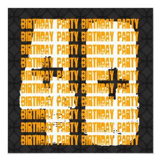 """40.o negro y oro del cumpleaños del Grunge para su Invitación 5.25"""" X 5.25"""""""