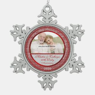 40.o Ornamento de rubíes de la foto de Adorno De Peltre En Forma De Copo De Nieve