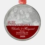 40.o Ornamento de rubíes de la foto del Adorno Redondo Plateado