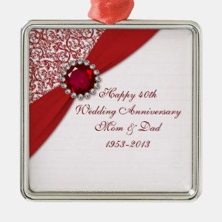 40.o Ornamento del aniversario de boda Adorno Navideño Cuadrado De Metal