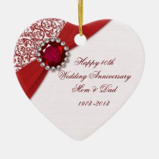 40.o Ornamento del aniversario de boda Adorno Navideño De Cerámica En Forma De Corazón