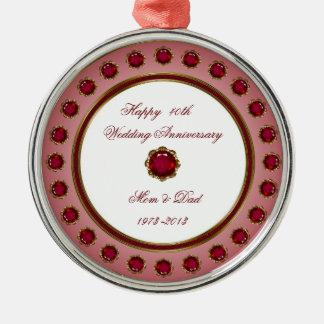 40.o Ornamento del aniversario de boda Adorno Navideño Redondo De Metal