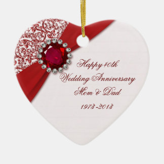40 o Ornamento del aniversario de boda Ornamentos De Navidad