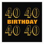 40.o Oro moderno de la fiesta de cumpleaños y W101 Invitacion Personal