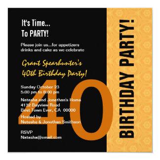 """40.o Oro moderno del cumpleaños y C843 negro Invitación 5.25"""" X 5.25"""""""