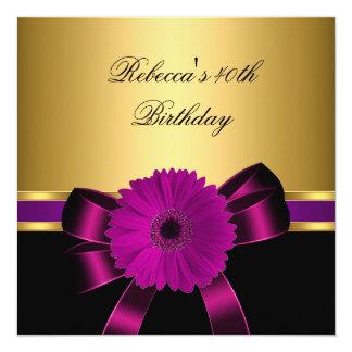 """40.o Oro púrpura de la flor del rosa negro del Invitación 5.25"""" X 5.25"""""""