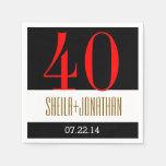 40.o Oro rojo negro moderno V02 del aniversario Servilletas De Papel