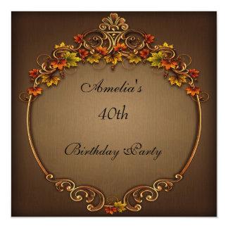 """40.o Otoño de Brown de la fiesta de cumpleaños Invitación 5.25"""" X 5.25"""""""