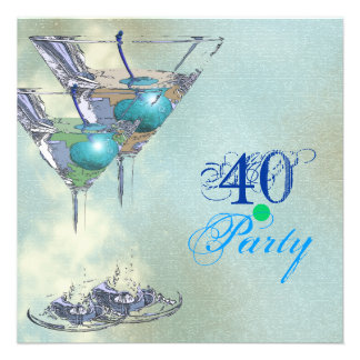 40 o Partido Verde elegante de la aguamarina Comunicados Personalizados