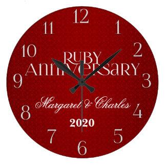 40.o Personalizado de rubíes de Annivsersary que s Reloj Redondo Grande