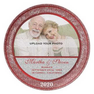 40.o Placa de la foto del aniversario de boda Plato Para Fiesta
