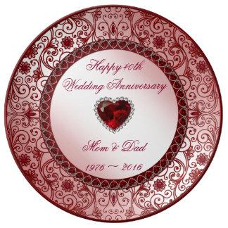 40.o Placa de la porcelana del aniversario de boda Plato De Cerámica