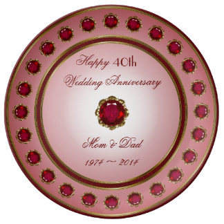 40.o Placa de la porcelana del aniversario de boda Platos De Cerámica